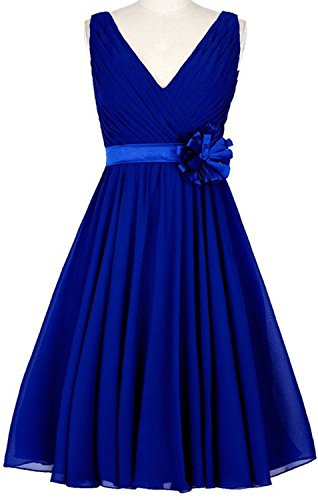Gown Flowers Anlin Dress Royal V Blue with Prom Homecoming Short neck Bridesmaid Chiffon Womens 1zqHg