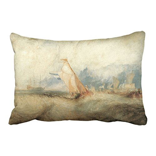 Turner Seascape (Accrocn Pillowcases Vintage Maritime Ship Seascape By Joseph Turner Accent Cushion Decorative Pillowcase Polyester 20 x 30 Inch Rectangl Queen Size Pillow Covers With Hidden Zipper)