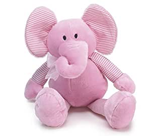 Pink Plush Elephant Stripes Fabric Ribbon