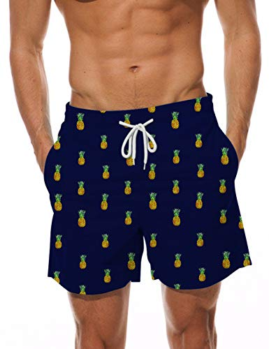 AIDEAONE Swimwear for Men Quick Dry Swim Trunks 3D Printed Pineapple Beach Board Shorts Waterproof Bathing Suit with Pockets XL