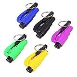 Qjoy 5 Pcs Mini Safety Hammer With Keychain Seat Belt Cutter Car Window Breaking Emergency Escape Tool