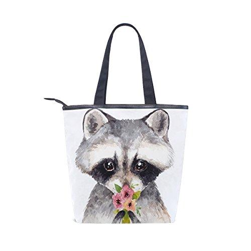 Alaza Raccoon Fleurs Main À Sac Fourre tout De Mignon D'épaule w8xZwaq