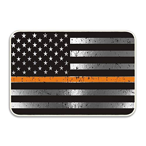 Thin Orange Line Distressed U.S. Flag Lovely Indoor/Outdoor Area Rug Carpet, Runners & Stair Treads with a Premium Rubber Back 16''x24 Doormat from Custmoized Doormat Rugs