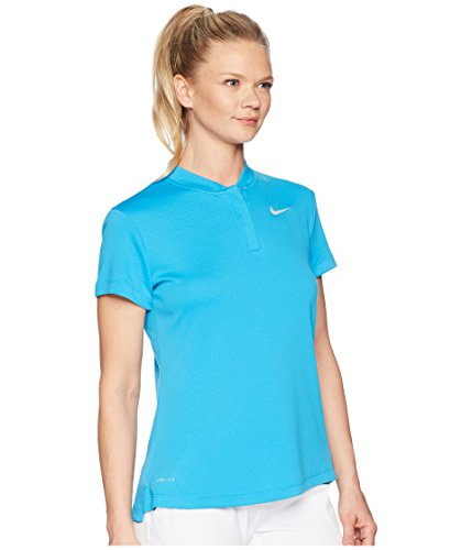 NIKE Dri Fit Shortsleeve Blade Collar LC Golf Polo 2018 Women Equator Blue/Flat Silver X-Large
