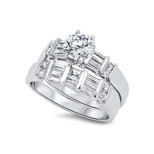 .925 Sterling Silver Bar-set Baguette Cubic Zirconia Bridal Wedding Ring Set - Size 8