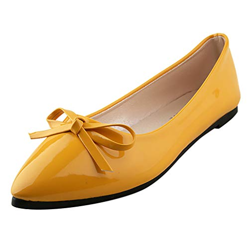 Peize Woman's Casual Patent Leather Point Toe Slip-On Work Shoes Low Heel Pumps Party Ballerina Pumps Shoes Yellow