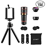 Case of 150 Packs, Phone Camera Lens, 12X Zoom Lens + Fisheye Lens + Macro Lens & Wide Angle (Attached Together) + Phone Holder + Tripod, 3 in 1 Smartphone Cell Phone Telephoto Lens