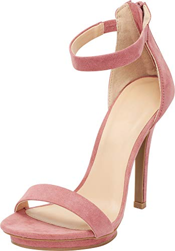 Cambridge Select Women's Open Toe Single Band Stretch Elastic Ankle Strap Stiletto High Heel Sandal (10 B(M) US, Dusty Rose IMSU) ()