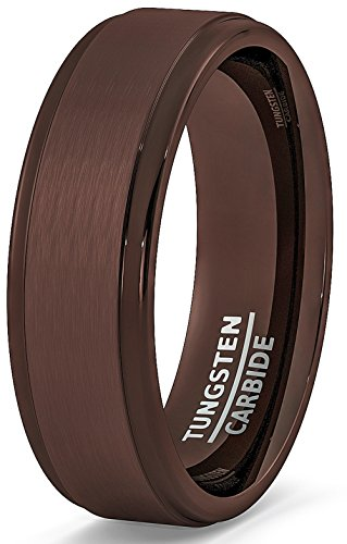 Duke Collections Mens Wedding Band Rare Brown Tungsten Ring Step Edge Comfort Fit (9.5)