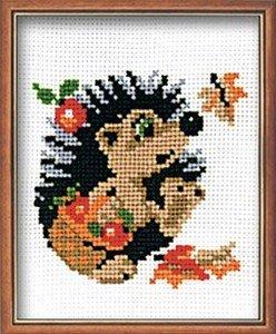 Hedgehog in Basket - Cross Stitch Kit