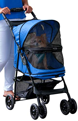 (Pet Gear No-Zip Happy Trails Pet Stroller for Cats/Dogs, Zipperless Entry, Easy Fold with Removable Liner, Storage Basket + Cup)