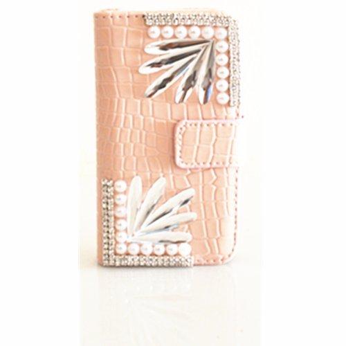 EVTECH(TM) 3D Bling Strass Fleur Flip Cover Cuir Coque Leather Housse Blanc Shell Etui Housse Bling Case pour Apple iPhone 4 4S