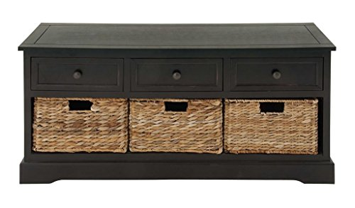 Deco 79 Wood Wicker Basket Bench, 42 by 20-Inch (Wicker Storage Bench Baskets)