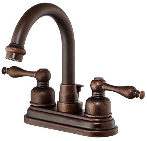 (Danze D301355BR Sheridan Two Handle Centerset High-Rise Spout Lavatory Faucet, Tumbled Bronze)