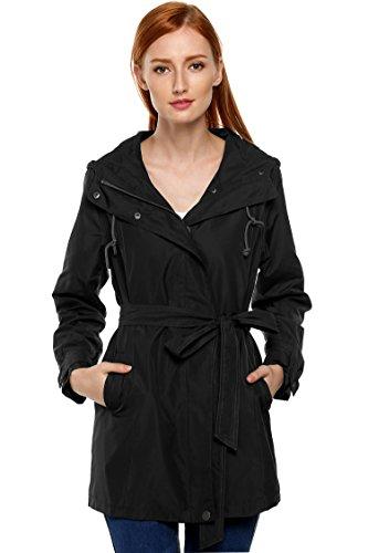 ZEARO Mantel Wind Jacke Kapuze Trenchcoat Damen Langarm Gürtel Casual Coat Outerwear Schwarz