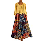 TUSANG Women Skirt Plus Size Patchwork Two-Piece O-Neck Wrist Print Vintage Maxi Dress Slim Fit Comfy Dress(E-Yellow,US-16/CN-4XL)