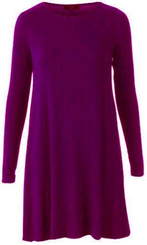 LEOPARD WOMENS LONG 8 TIGER LADIES PRINT 26 TOP SLEEVE SWING DRESS TUNIC Purple TARTAN ZZECqwHxR