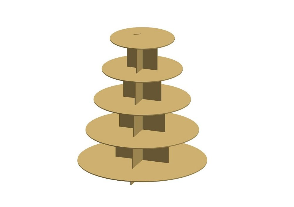 Cup Cake Stand Unfinished MDF Wood Cutout Variety of Sizes USA Made Home Halloween Thanksgiving Fall Decor (12'') (Tier-5)
