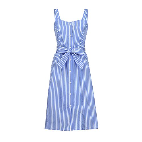 2018 New Women's Striped Dress, E-Scenery Summer Bandage Single-Breasted Casual Dresses (Blue, Large) ()