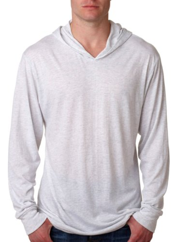 Next Level Apparel Tri-Blend Extreme Soft Rib Knit Hoodie, HEATHER WHITE, Medium