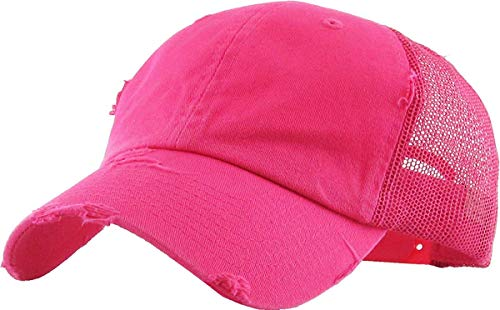 H-6140-K24 Distressed Low Profile Vintage Polo Style Trucker Dad Hat - Hot Pink