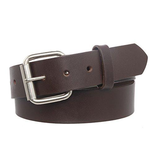 Boston Genuine Belt (Men's Full Grain Leather Belt With Snap Off Buckle - Brown)