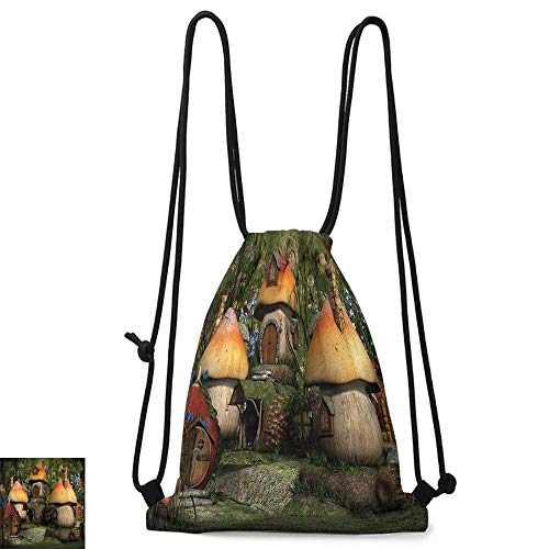 Portable backpack Farm House Decor Mushroom Houses in Forest Fairy Tale Fantasy Wonderland Dwarf Kid Nursery Theme W14