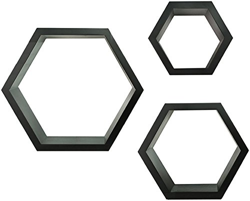 GALLERY SOLUTIONS Black HexaGallery Geometric Decorative Wall Mounted Floating Shelves, Set of 3 - Includes three black HexaGallery shelves in varying sizes: 12 inches, 8 inches and 7 inches Each shelf is constructed of lightweight wood composite making it easy to install and durable enough to last Modern and unqiue honeycomb design is ideal for displaying decorative home accessories, frames, antiques, books and so much more - wall-shelves, living-room-furniture, living-room - 41GZhpGI85L -