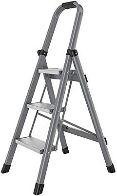 LJSJT Escalerilla Escalera de Aluminio de 3 peldaños Pies Antideslizantes Diseño Plegable con pasamanos de Esponja Ideal para hogar/Cocina/jardín. Teniendo Peso 150 kg (Color : Gray): Amazon.es: Hogar