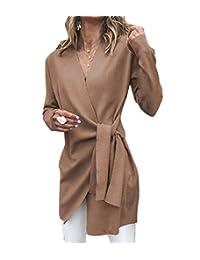 Baseby Women Waist Tie Trench Coat Irregular Hem Fall Winter Wrap Coat