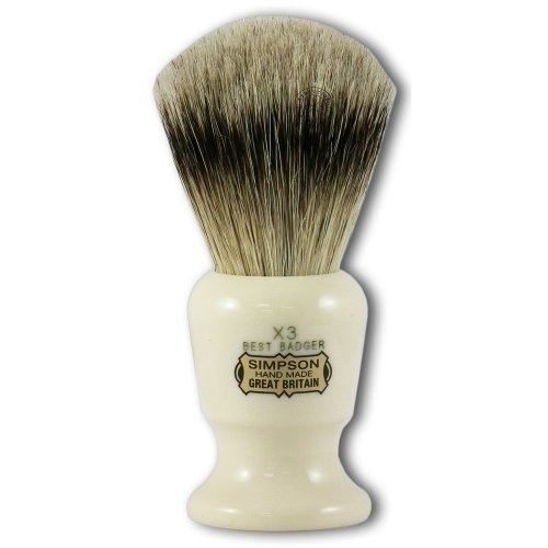 Price comparison product image Simpsons Commodore X3 Best Badger Hair Shaving Brush Large - Imitation Ivory