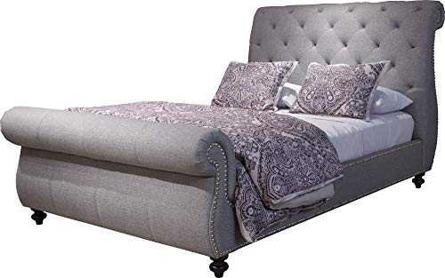 Bombay B1012QB0350 Hamilton Tufted Upholstered Queen Sleigh Bed with Nail Head Accents, Durban Light Grey
