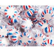Quality Candy Peppermint Starlight Red, White & Blue Candy - 5 Lb Bag