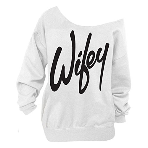 Begonia.K Women's Wifey Shirt Letter Print Off The Shoulder Slouchy Pullovers, White/Black, X-Large ()