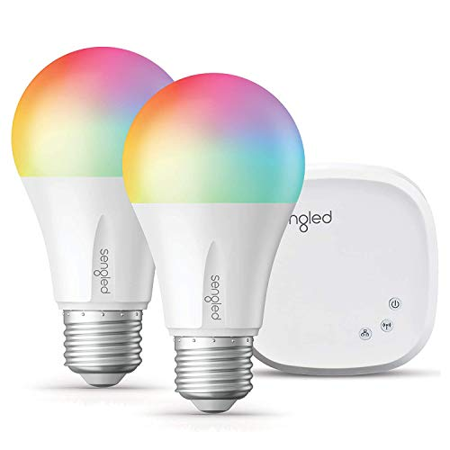 Sengled Smart Light Bulb Starter Kit, Smart Bulbs that Work with Alexa, Google Home, Color Changing Light Bulb, Alexa Light Bulbs, A19 E26 Dimmable Bulbs 800LM, 9W (60W Equivalent), 2Pack with Hub