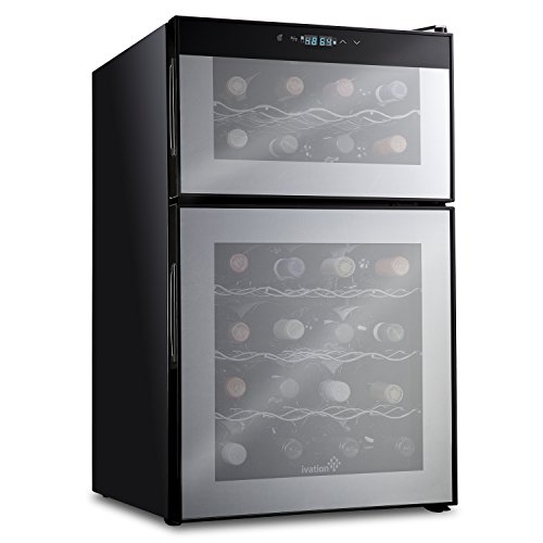 Ivation 24 Bottle Dual Zone Thermoelectric Red & White Wine Cooler/Chiller Counter Top Wine Cellar with Digital Temperature Display, Freestanding Refrigerator Smoked Glass Door Quiet Operation Fridge