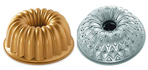 Set of 2 Nordic Ware Cake Elegant Party and Stained Glass Bundt Pans