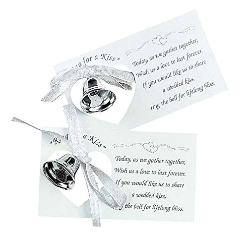 100 Silver Metal Kissing Bell Wedding Kiss Poem Reception Favor Table Decor Lot