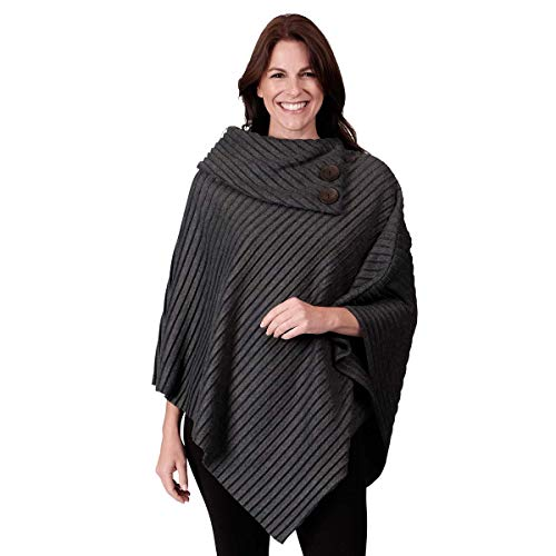 (Le Moda Women's Shawl Collar Pleated Fleece Poncho with Buttons | Cold Weather Collection | One Size Fits All (ONE SIZE, CHARCOAL))