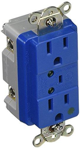 EATON 8200BLS Hospital Grade TVSS Surge Protection Duplex Receptacle with LED Indicators and Switched Alarm, Blue Finish