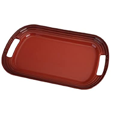 Le Creuset Stoneware 12  Oval Serving Platter, Cerise (Cherry Red)