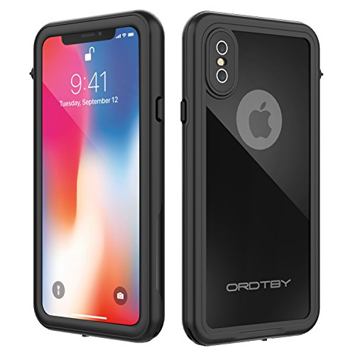 iPhone X Waterproof Case, ORDTBY Underwater Full Sealed Cover IP68 Certified for Waterproof Snowproof Shockproof and Dustproof with Built-in Screen Protector for iPhone X (Black) -