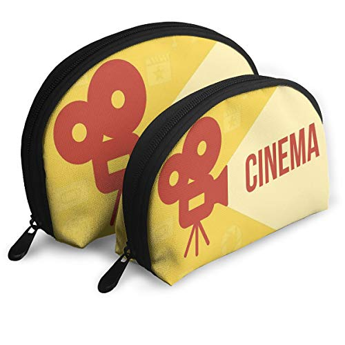 Shell Shape Makeup Bag Set Portable Purse Travel Cosmetic Pouch,Projector Silhouette With Cinema Quote Movie Symbols Background,Women Toiletry Clutch