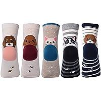 Womens 5Pack Estilo clásico algodón de lana para tejer invierno cálido Descenso Crew–Calcetines