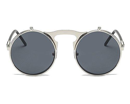 redondo estilo gótico diseño de Estilo Plata protección UV marco gafas Gris Worclub gafas retro steampunk sol neutral AIwFgx