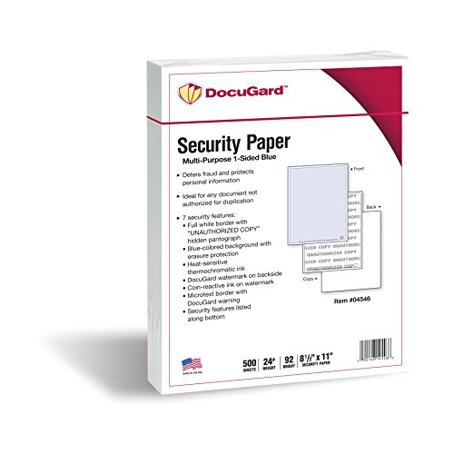 - DocuGard Advanced Blue Multi-Purpose Security Paper, 7 Features, 8.5 x 11 Inches, 24 lb, 500 Sheets (04546)