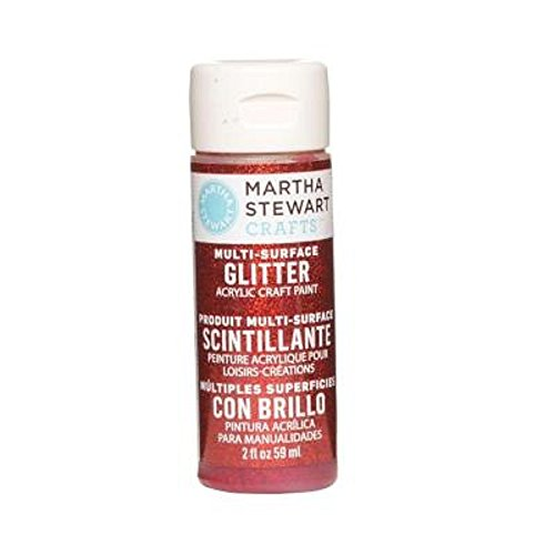 Paint Red Glitter (Martha Stewart Crafts Multi-Surface Glitter Acrylic Craft Paint in Assorted Colors (2-Ounce), 32164 Garnet)