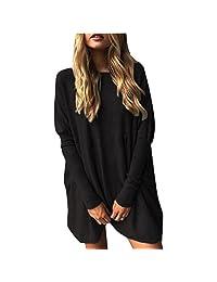 WakeUple Women Long Sleeve Loose Oversized Knitted Pullover Sweater Jumper Outwear Coat