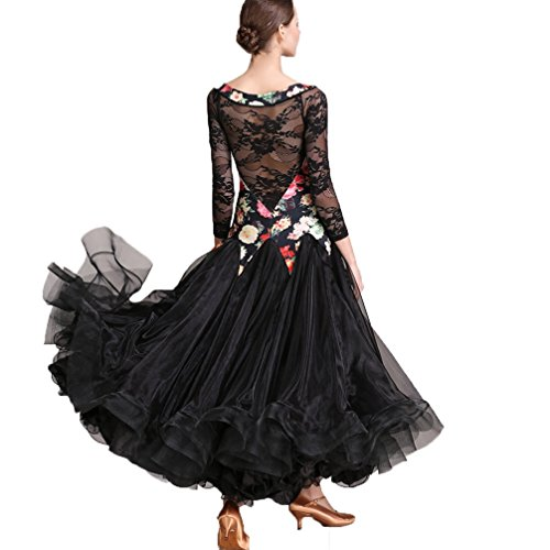 Sala Xl Costumi Ballo Foxtrot Per Outfit Valzer Pizzo s Di Tango Da Black Grande Spettacolo Vestito Wqwlf Danza Swing Donne T1RtqwzB