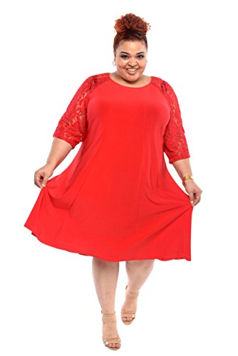 Julian Taylor Women Plus Size Trapeze Dress - Plus Size Red Dress (RED)